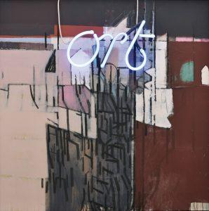 Helmut Klock | ORT BLAU | 2012 | Acryl und Neon auf Leinwand | Galerie Moench Berlin