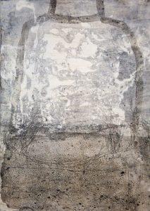 Carola Czempik | DERNIER BOND / LETZER SPRUNG 3 | aus der Serie La mer | 2016 | Pigmente, Marmor, Spinell, Kohlepapier, Japanpapier, Grafit, Buntstift, Wachs und Acryl auf Papier | Galerie Moench Berlin