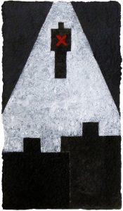 Gerhard Walter Feuchter | K. UNTER BEOBACHTUNG | aus der Serie Hommage a Kafka | seit 2012 | Papierguss, Acryl, Pigment und Asche | Galerie Moench Berlin