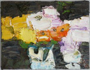 Klaus Fussmann Calendula und Rosen Oel auf Leinwand zeitgenoessische Malerei 2013 Galerie Moench Berlin